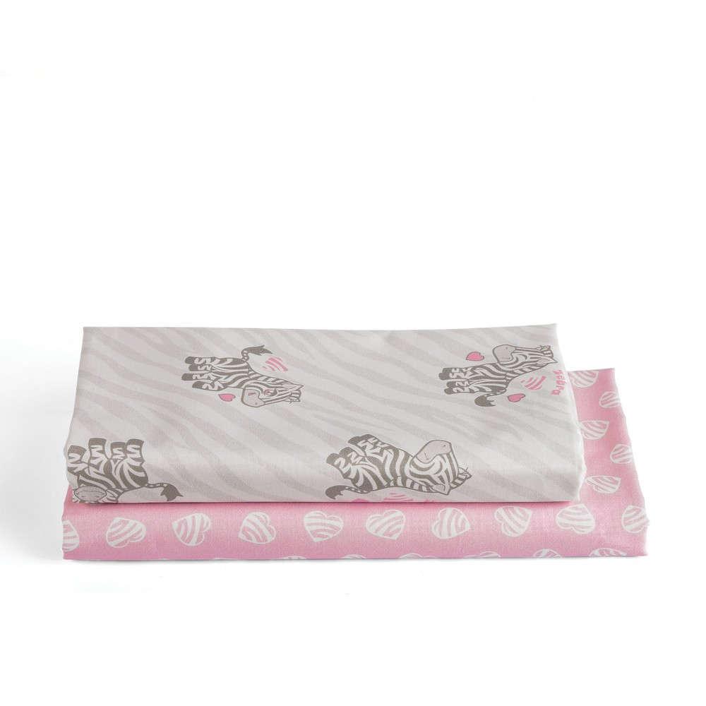 Σεντόνι Βρεφικό Σετ Africa Grey-Pink Kentia Λίκνου 70x120cm