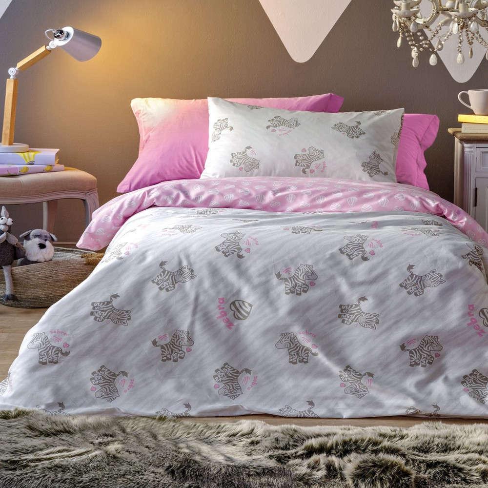 Σεντόνι Παιδικό Africa Σετ Grey-Pink Kentia Μονό 160x255cm