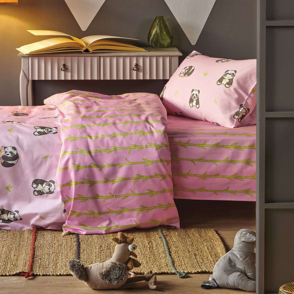 Σεντόνι Παιδικό Σετ Panda Pink Kentia Μονό