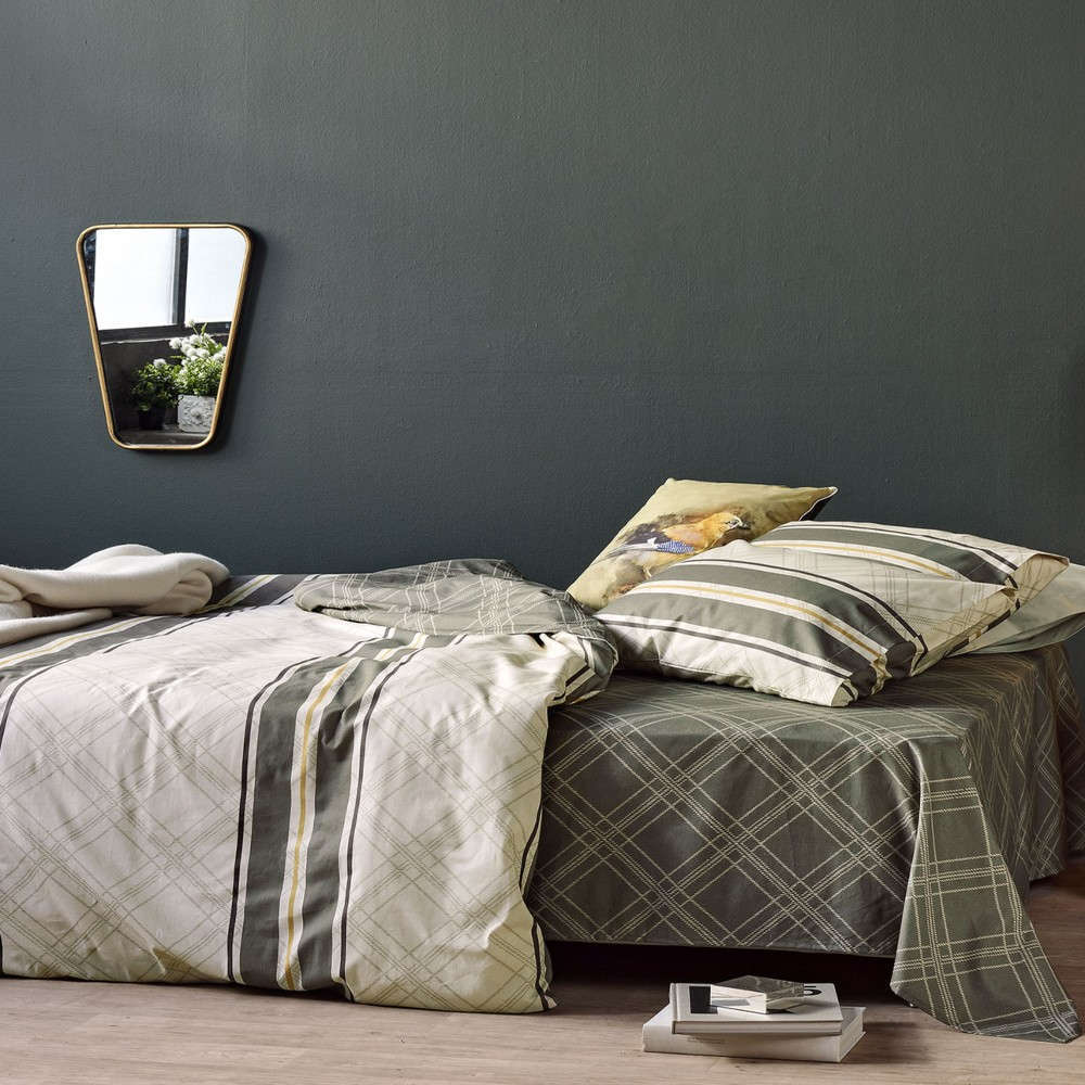 Σεντόνια Σετ Camelot 36 Olive-Grey Kentia Ημίδιπλο 180x260cm