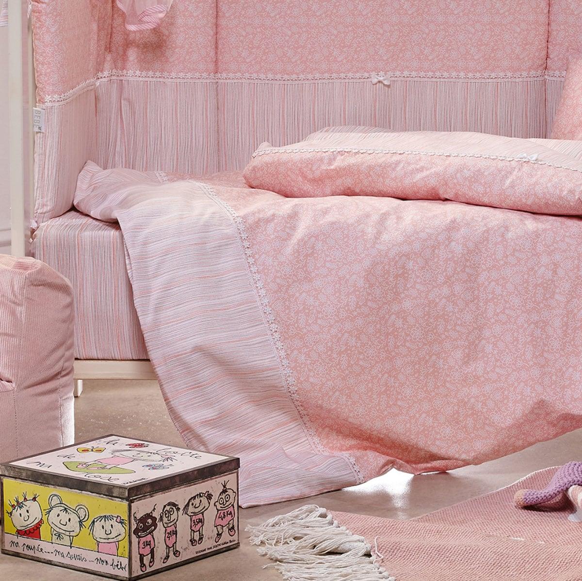 Παπλωματοθήκη Βρεφική Σετ 2Τμχ. Nadine Pink Kentia 100x140cm
