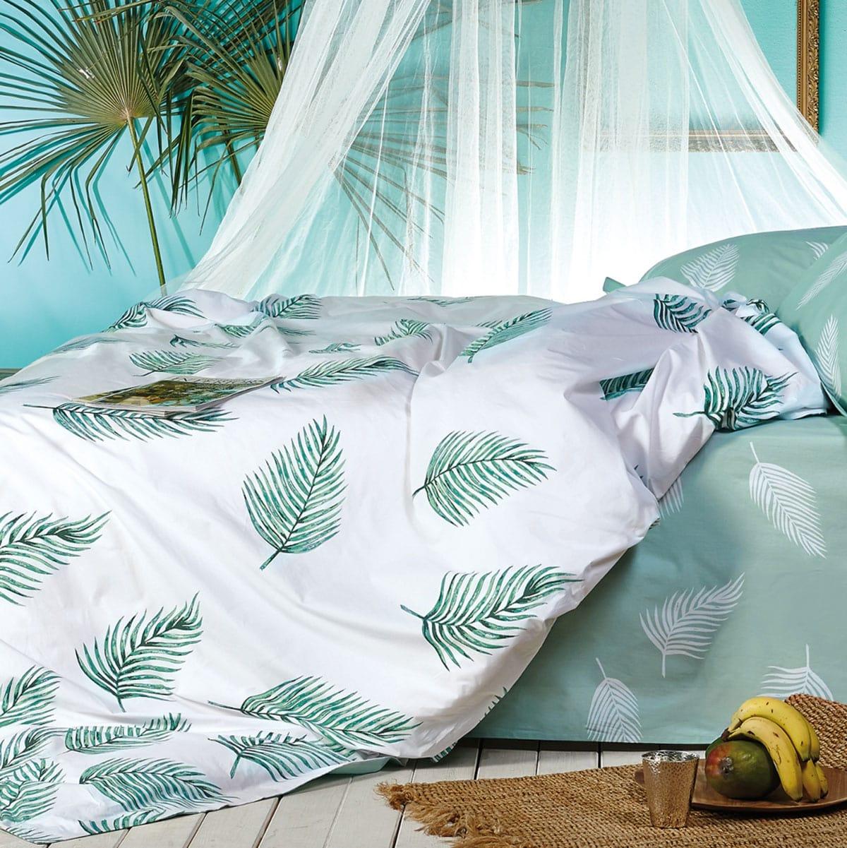Κουβερλί Riva 2 Green-White Kentia King Size 270x270cm