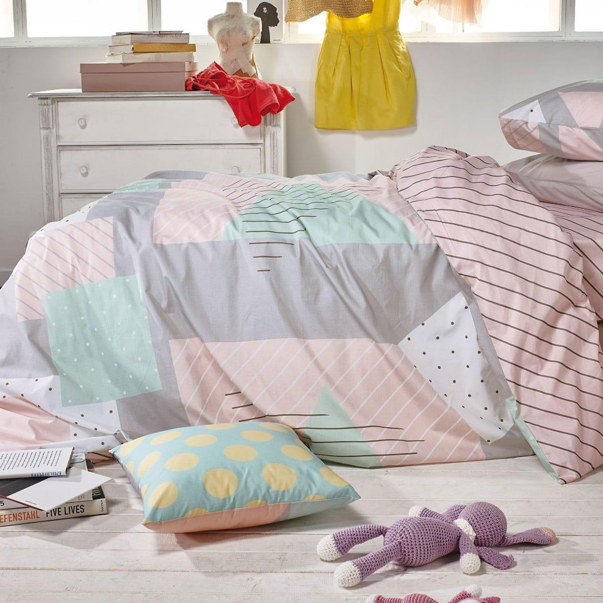 Κουβερλί Παιδικό Uma 14 Pink-Grey Kentia Ημίδιπλο 180x260cm