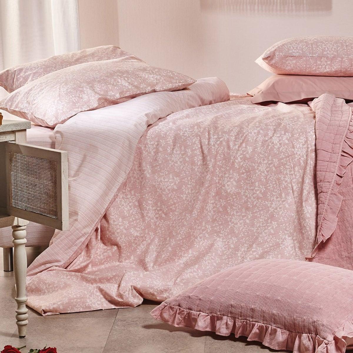 Παπλωματοθήκη Σετ 3Τμχ. Ornella 18 Pink Kentia Υπέρδιπλo 220x240cm
