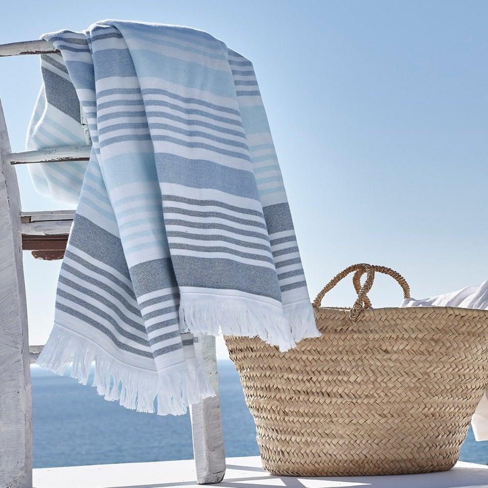 Πετσέτα Θαλάσσης-Παρεό Patmos Blue-Grey Kentia Θαλάσσης 90x180cm