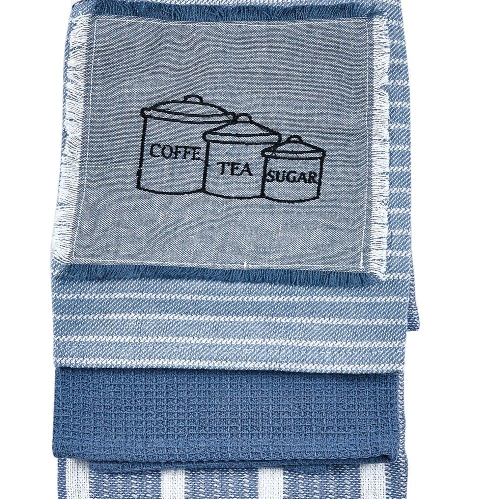 Πετσέτες Κουζίνας Σετ 3Τμχ. Bean 205 Blue Kentia 45x65cm