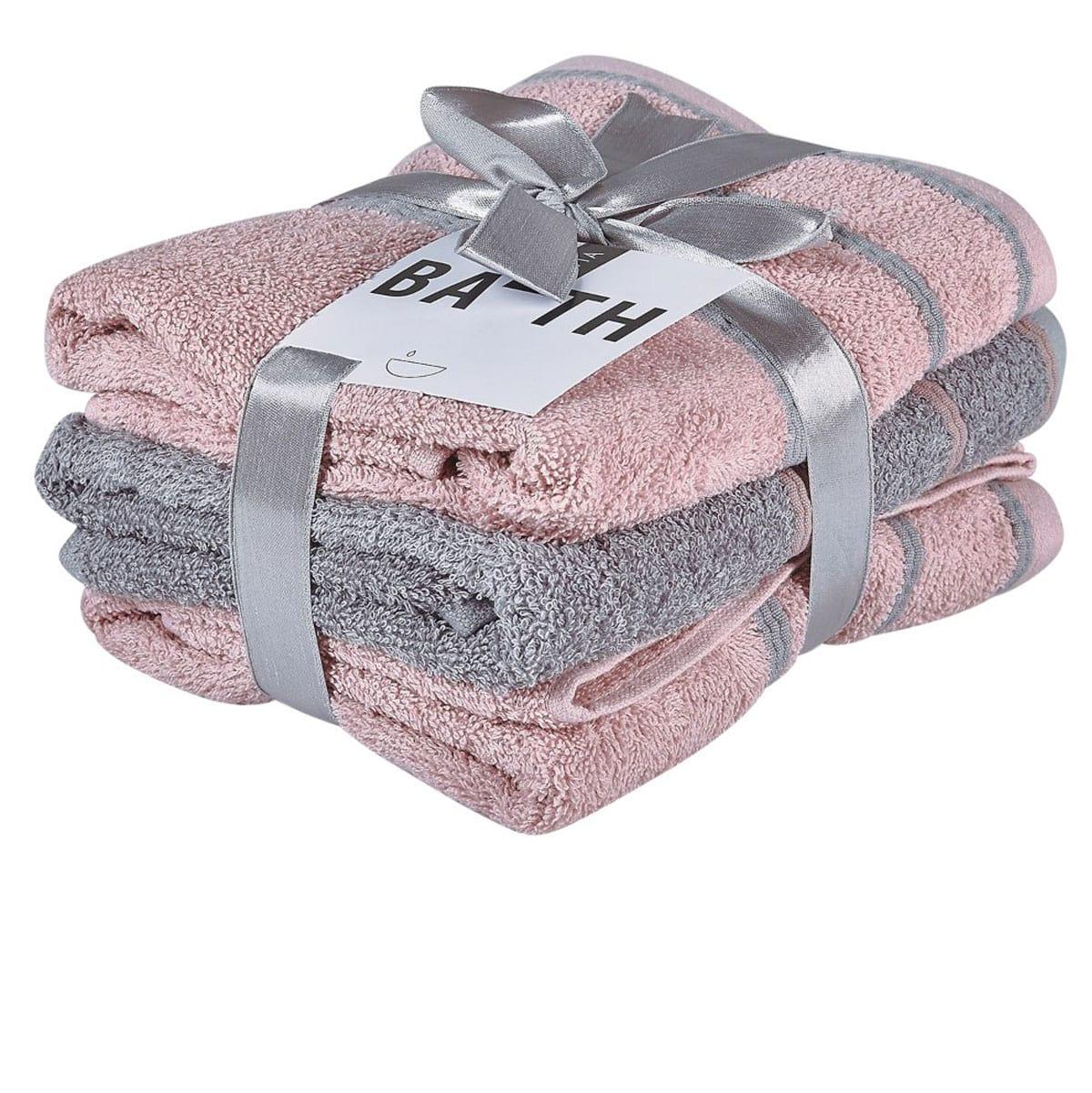 Πετσέτες Σετ 3Τμχ. Zana 18 Pink-Grey Kentia Σετ Πετσέτες