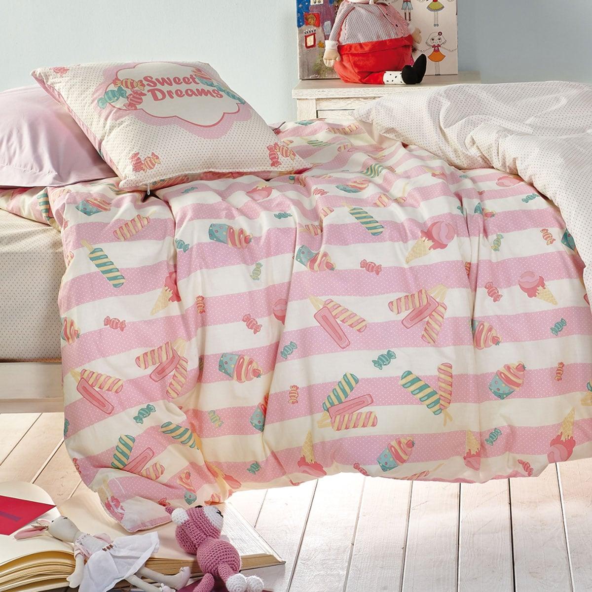 Κουβερλί Παιδικό Σετ 3Τμχ. Candybar Pink-White Kentia Μονό 160x240cm