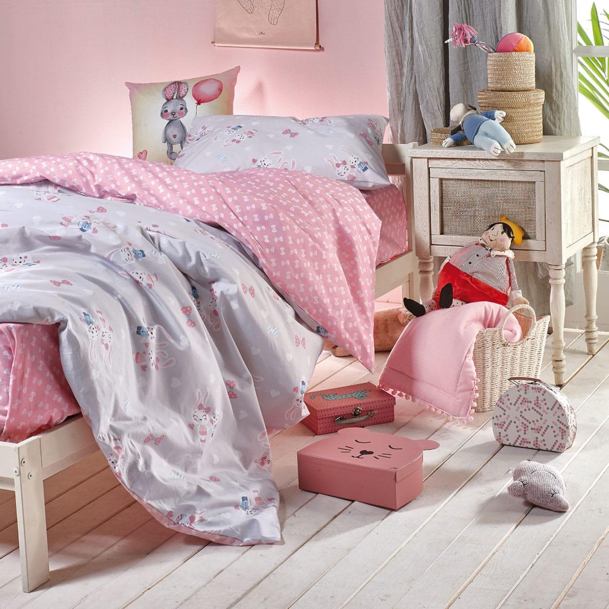 Σεντόνια Παιδικά Σετ 3Τμχ. Barny Grey-Pink Kentia Μονό 160x255cm