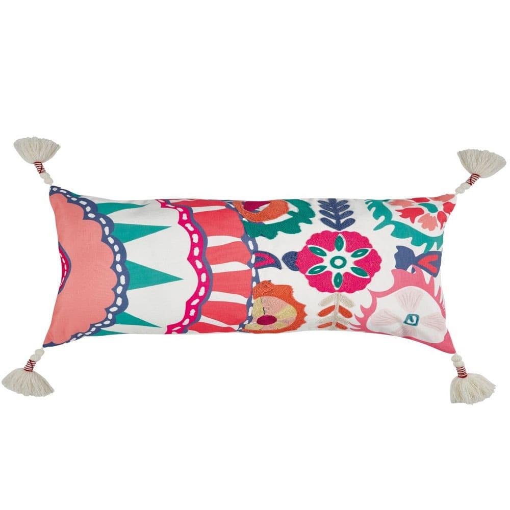 Μαξιλάρι Διακοσμητικό (Με Γέμιση) Casa 216 Ecru-Fucsia-Green Pink Kentia 30Χ50 100% polyester