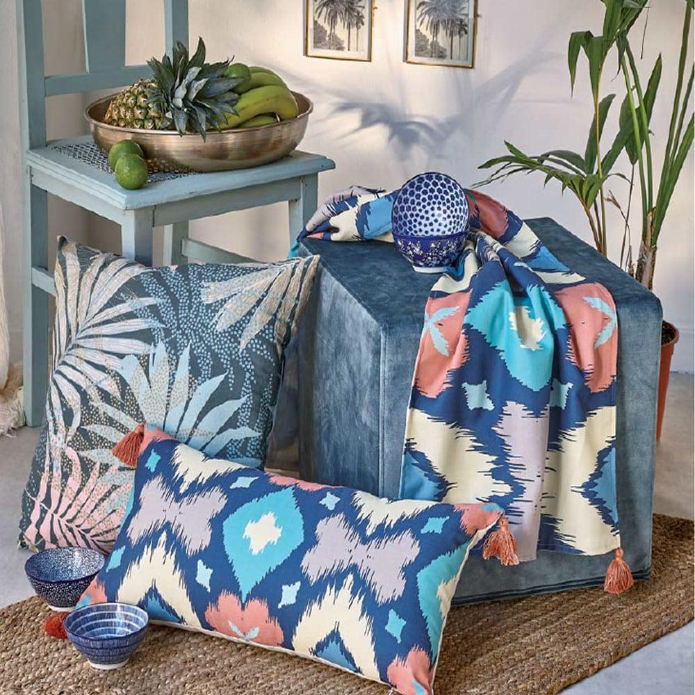 Μαξιλάρι Διακοσμητικό (Με Γέμιση) Casa 217 Blue-Salmon Pink-Yellow-Mint Kentia 30Χ50 100% polyester