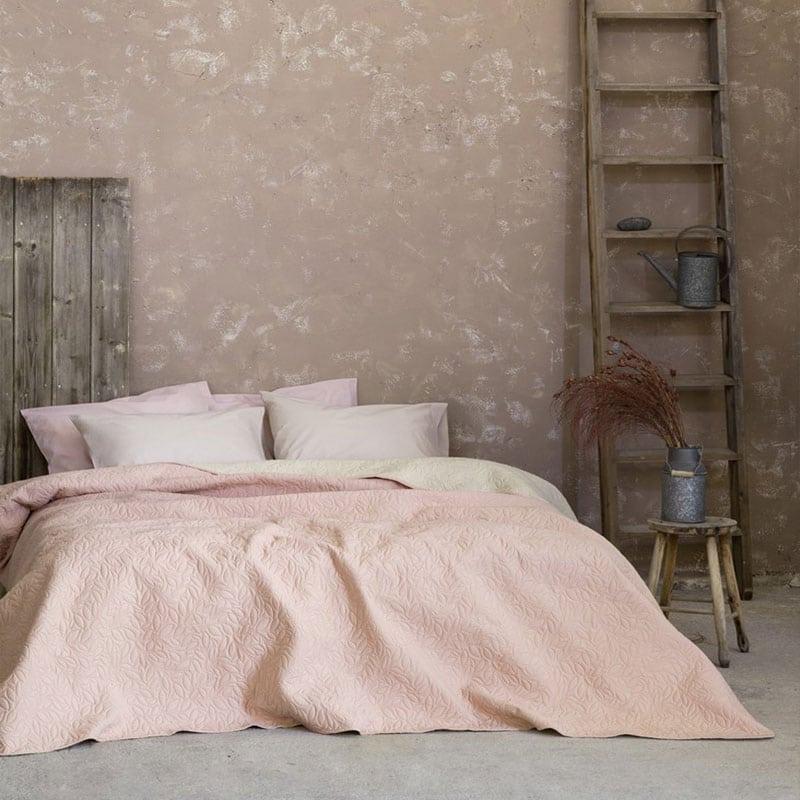 Κουβερλί Foglie Pink-Ivory Nima Υπέρδιπλo