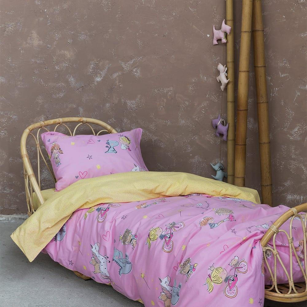 Κουβερλί Παιδικό Magie Pink-Yellow Nima Μονό