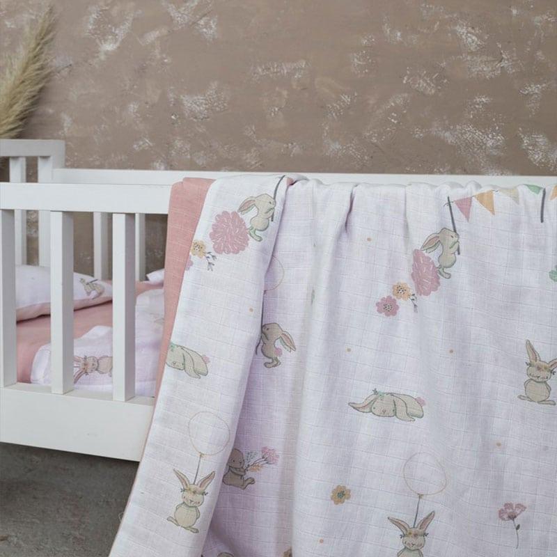 Κουβέρτα Βρεφική Bunny Love White-Pink Nima Αγκαλιάς