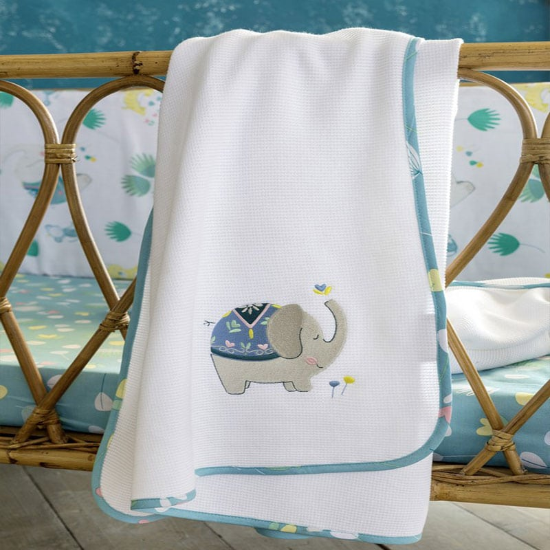 Κουβέρτα Βρεφική Πικέ Chirpy White-Blue Nima Κούνιας