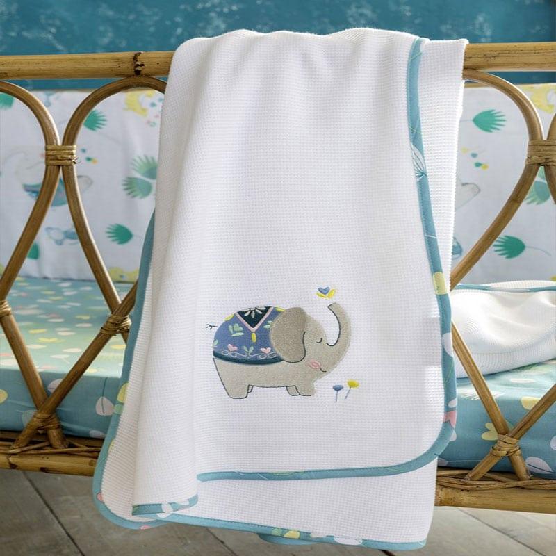 Κουβέρτα Βρεφική Πικέ Chirpy White-Blue Nima Αγκαλιάς