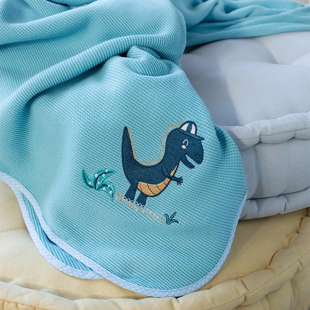 Κουβέρτα Βρεφική Πικέ Lelloland Light Blue Nima Αγκαλιάς