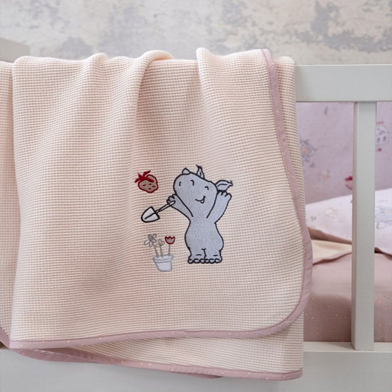Κουβέρτα Βρεφική Πικέ Little Rhino Light Pink Nima Αγκαλιάς