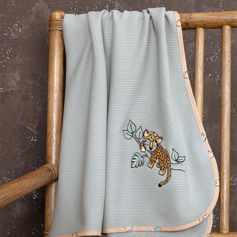 Κουβέρτα Βρεφική Πικέ Sleepy Panther Grey-Somon Nima Αγκαλιάς