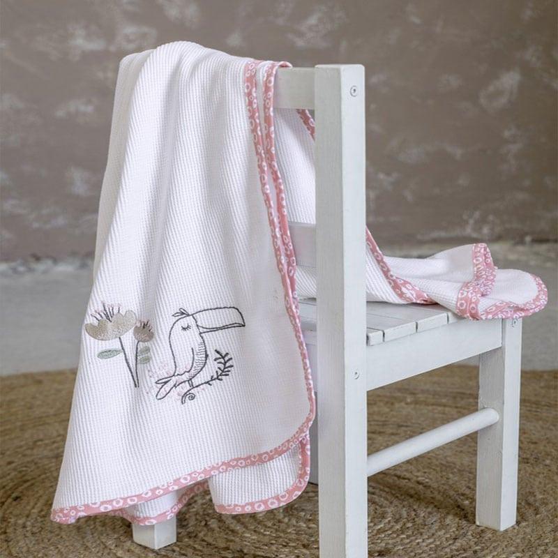 Κουβέρτα Βρεφική Πικέ Toco Toucan White-Pink Nima Κούνιας