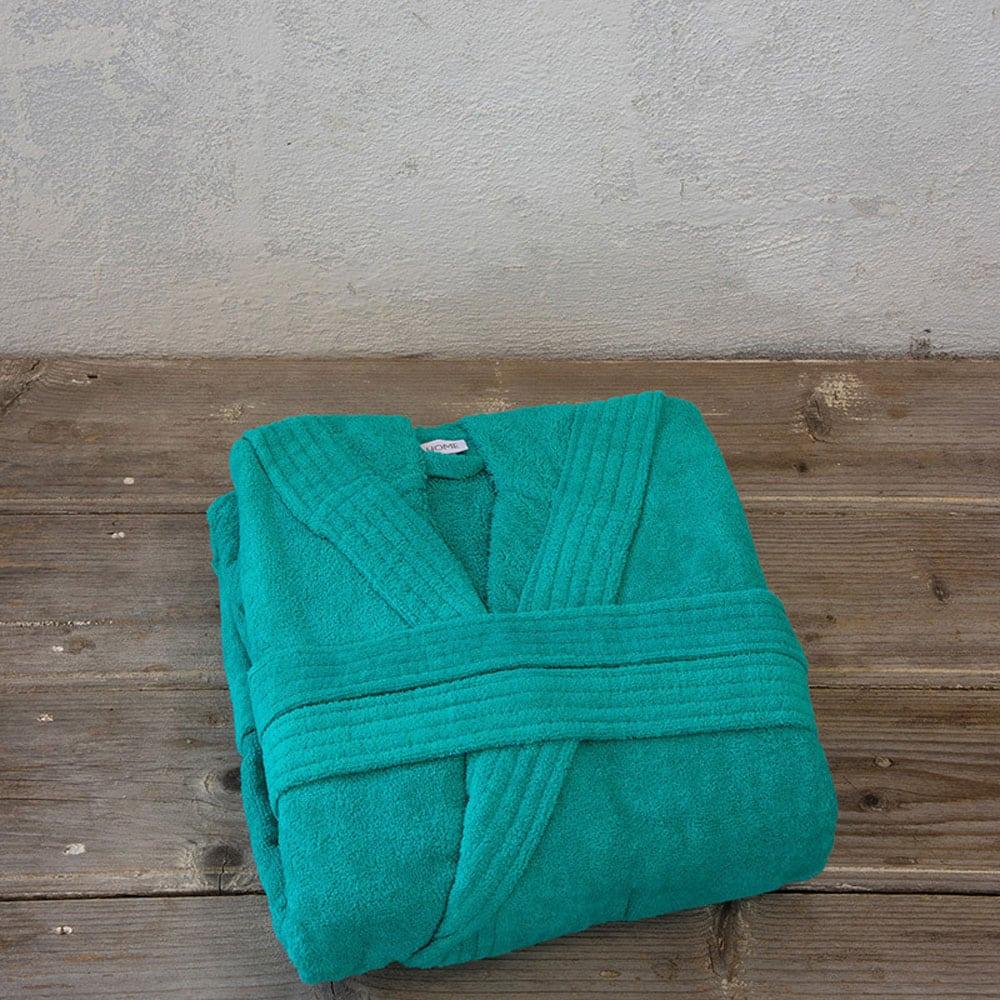 Μπουρνούζι Zen Με Κουκούλα Σε Κουτί Emerald Blue Nima Large L