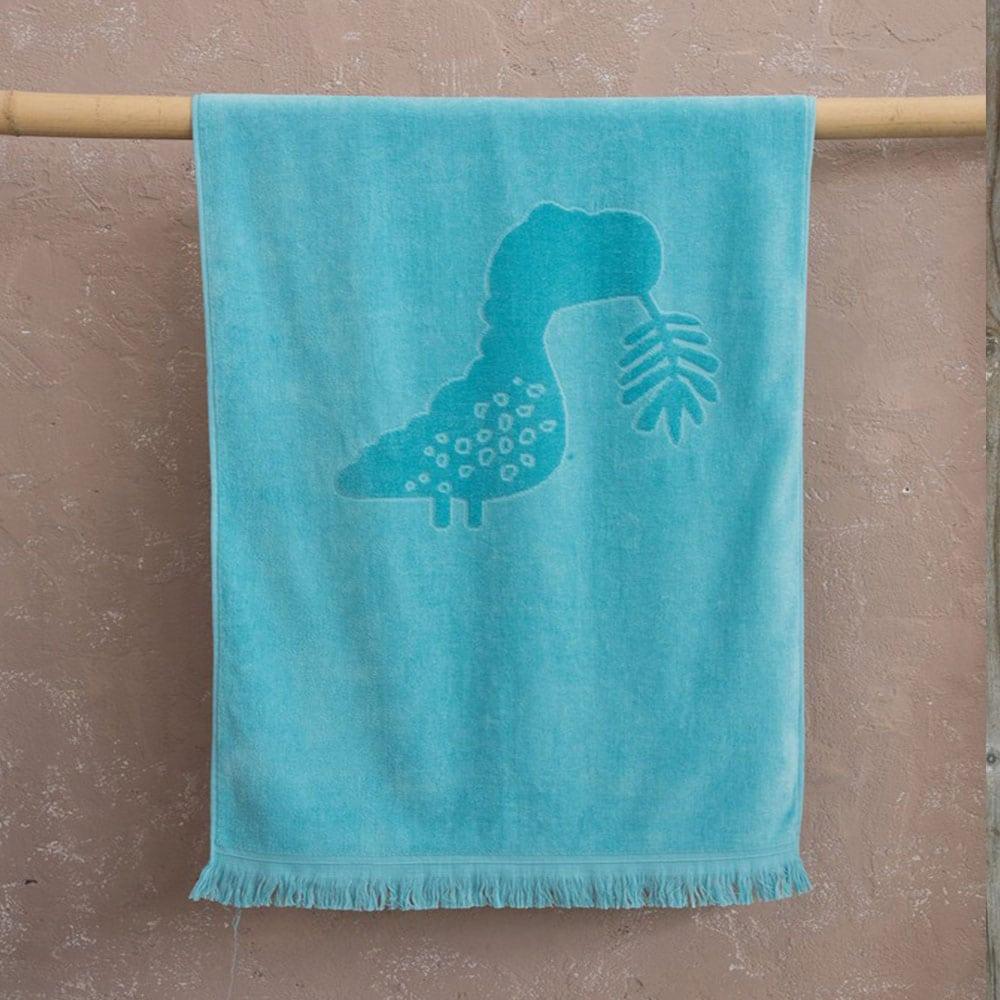 Πετσέτα Θαλάσσης Παιδική Dinoscating Jacquard Turqoise Nima Θαλάσσης