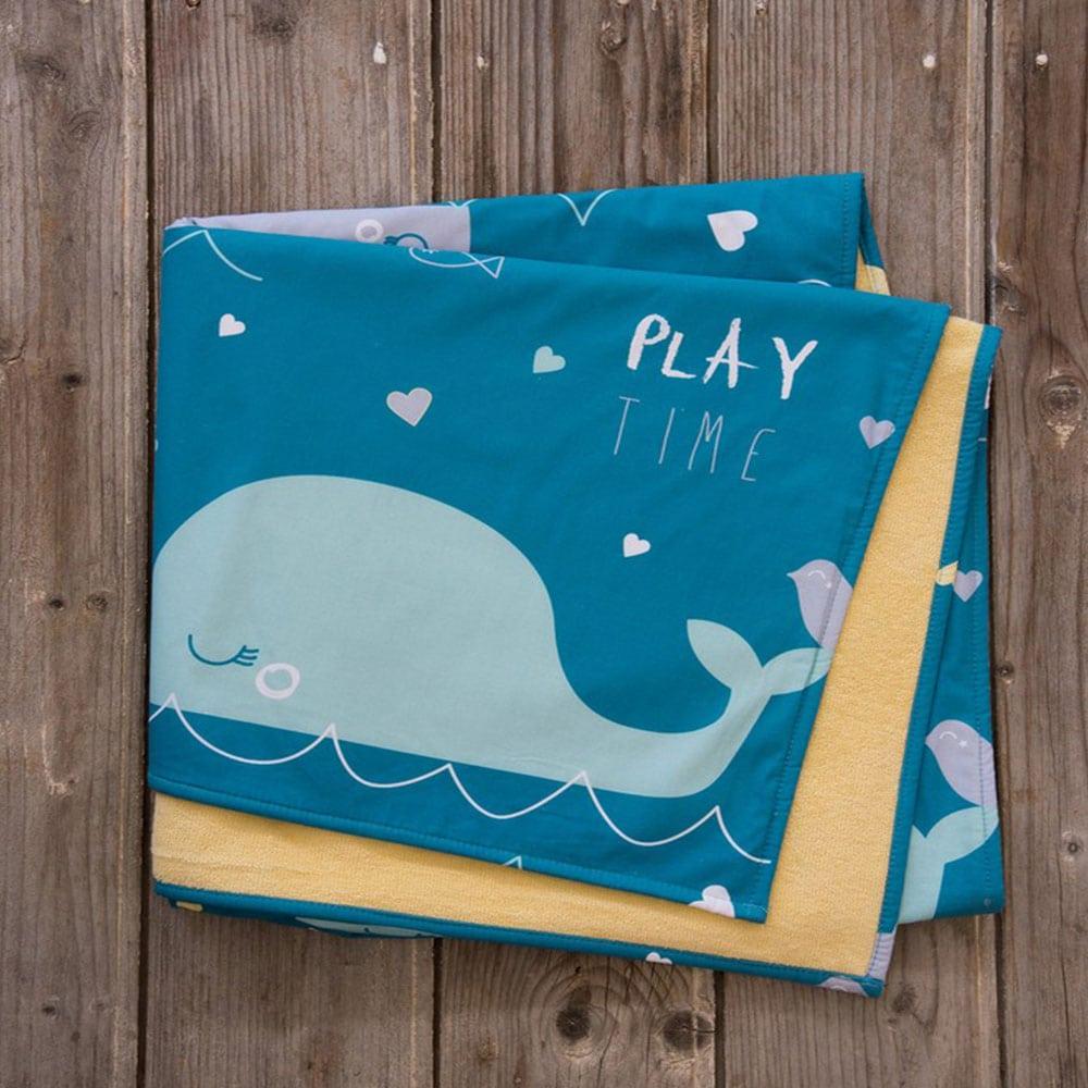 Πετσέτα Θαλάσσης Παιδική Δύο Όψεων Playtime Petrol-Yellow Nima Θαλάσσης