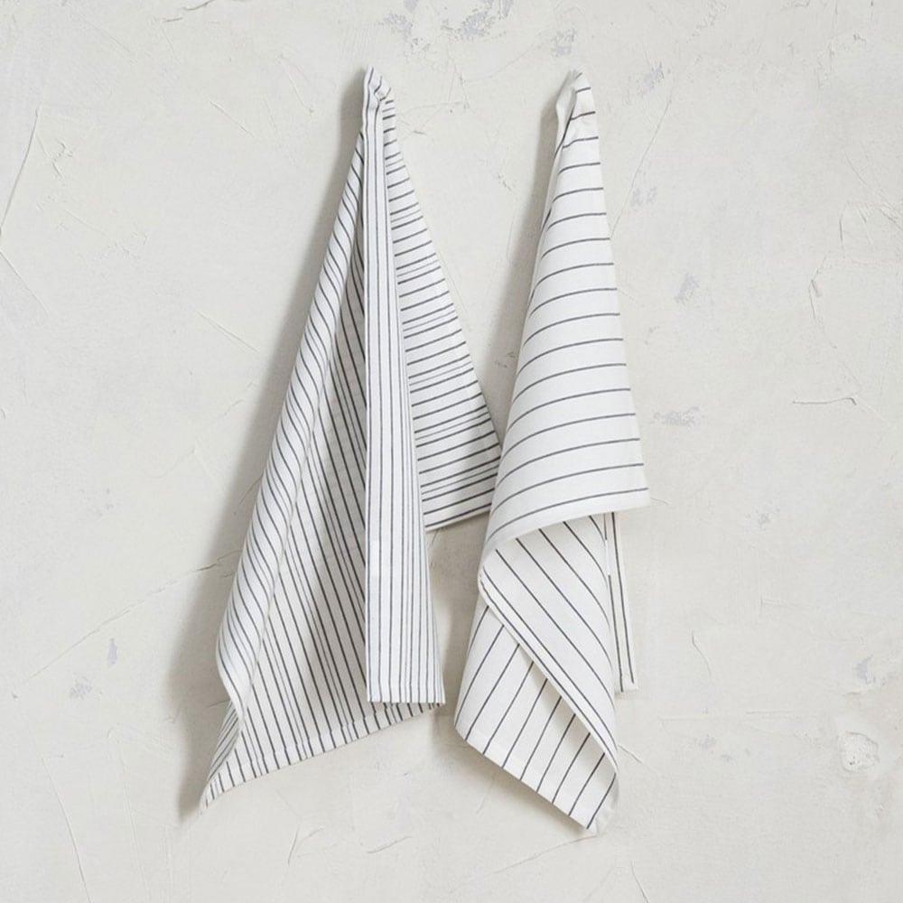 Πετσέτες Κουζίνας Pure Σετ 2τμχ White-Black Nima 50x70cm