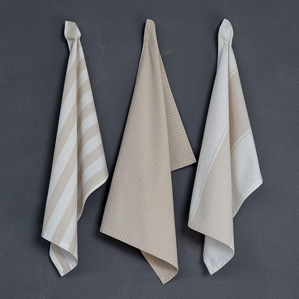 Πετσέτες Κουζίνας Tidy Σετ 3τμχ Beige Nima 50x70cm