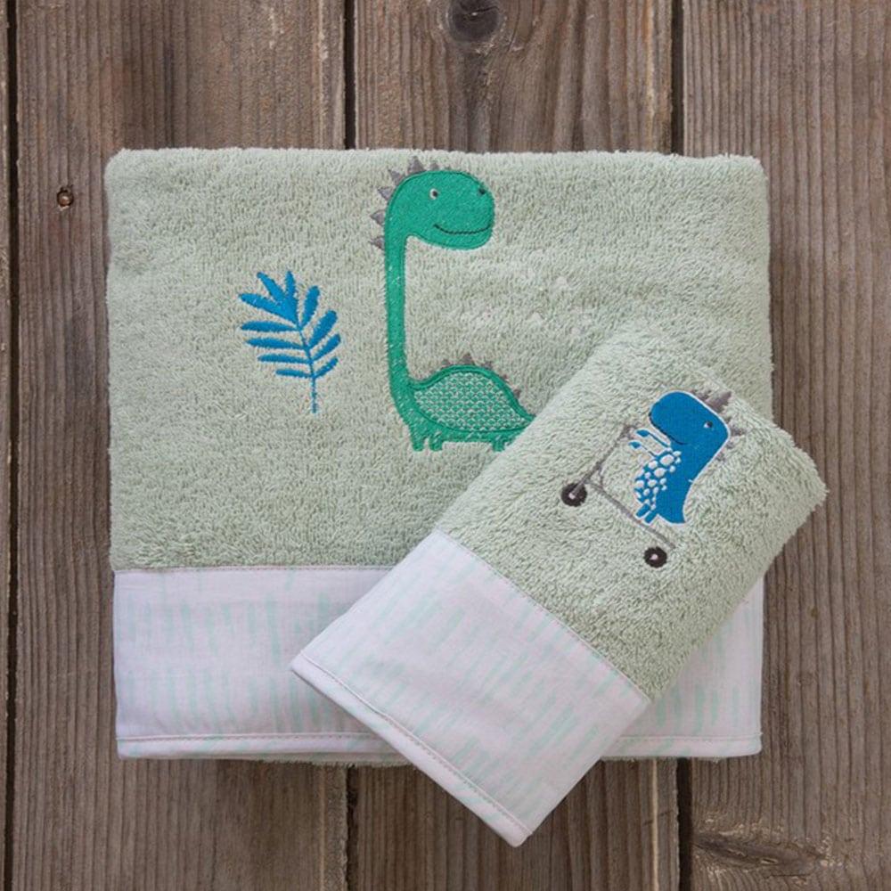 Πετσέτες Παιδικές Dinoskating Σετ 2τμχ Green Nima Σετ Πετσέτες