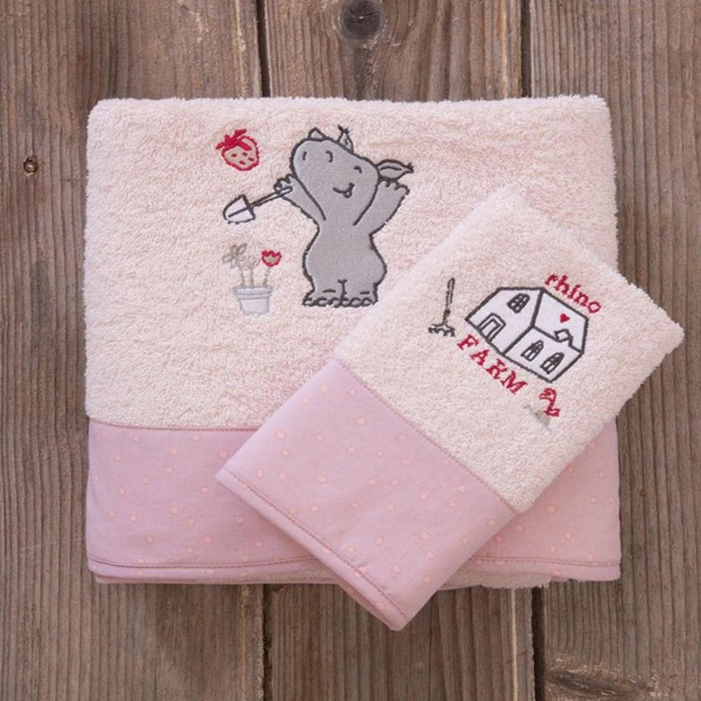 Πετσέτες Παιδικές Little Rhino Σετ 2τμχ Light Pink Nima Σετ Πετσέτες