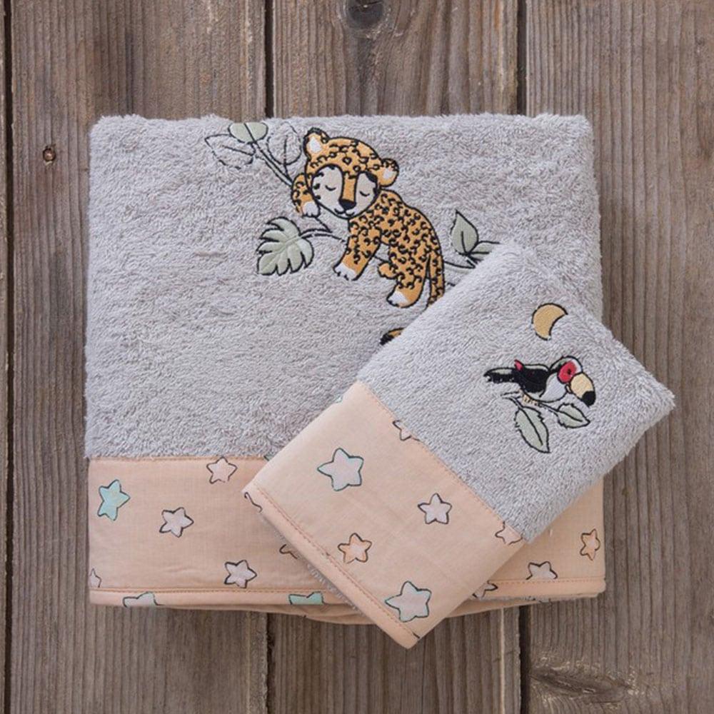 Πετσέτες Παιδικές Sleepy Panther Σετ 2τμχ Grey-Somon Nima Σετ Πετσέτες