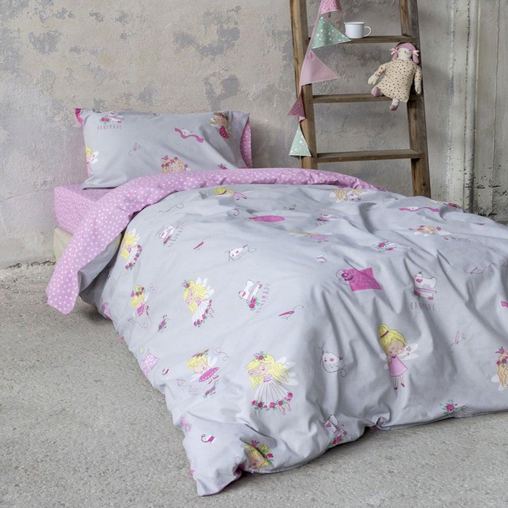 Σεντόνια Παιδικά Fairy Tailor Σετ 3τμχ Grey-Pink Nima Μονό