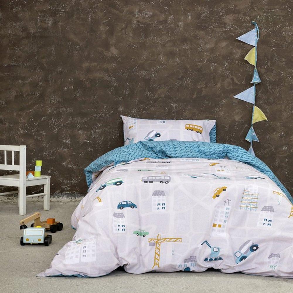 Σεντόνια Παιδικά Kaboodle Σετ 3τμχ Grey-Blue Nima Μονό