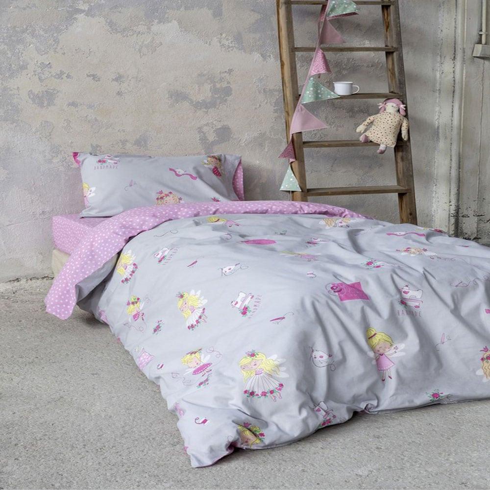 Σεντόνια Παιδικά Με Λάστιχο Fairy Tailor Σετ 3τμχ Grey-Pink Nima Μονό