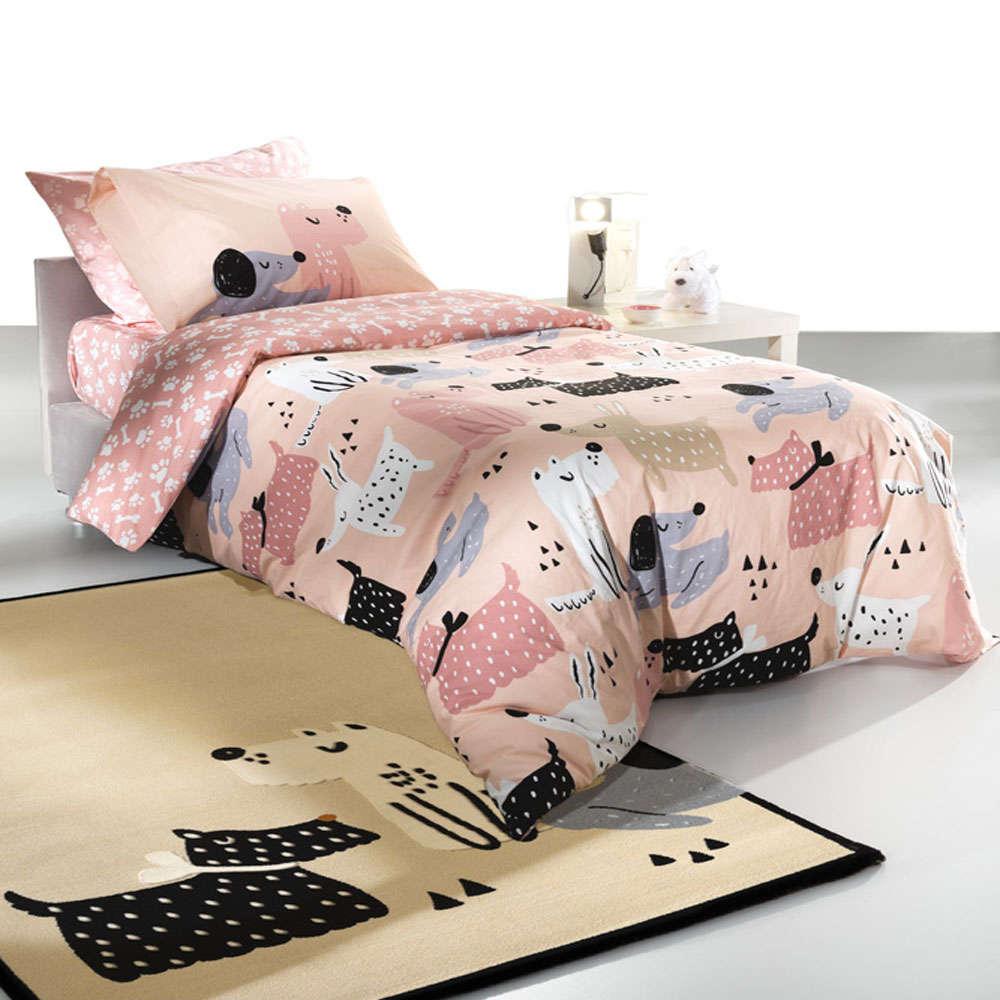 Παπλωματοθήκη Παιδική Doggy Pink Suede Saint Clair Μονό 160x220cm