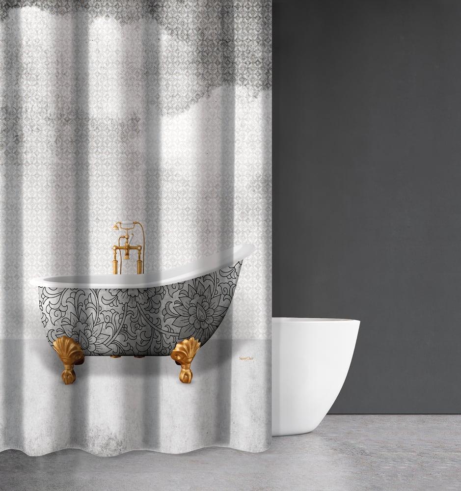 Κουρτίνα Μπάνιου Abstract Des 110 Grey Saint Clair Φάρδος 200cm 180x200cm