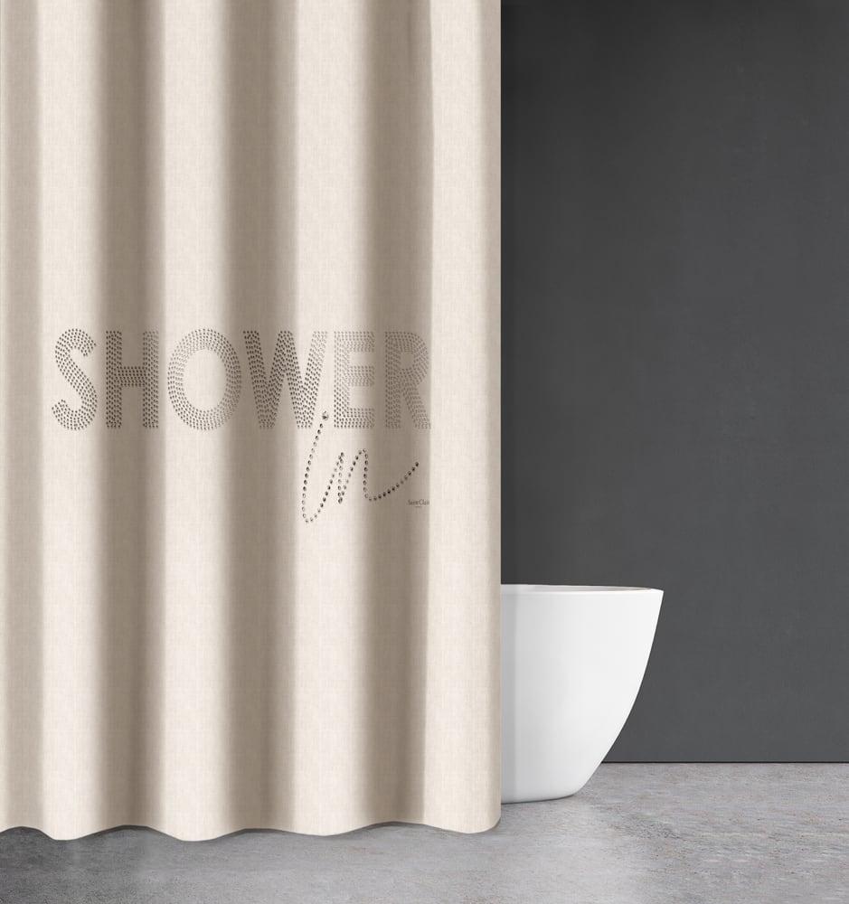 Κουρτίνα Μπάνιου Abstract Des 111 Cream Saint Clair Φάρδος 200cm 180x200cm
