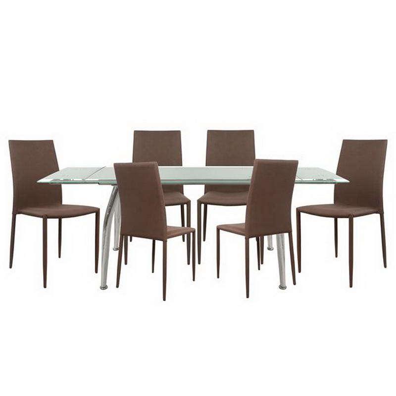 Σετ Τραπεζαρίας 7τμχ HM10009.03 Χρώμιο-Καφέ 120+50x80x75cm 6 Θέσεων