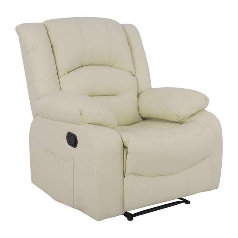 Πολυθρόνα Comfort Relax Με Μηχανισμό Massage 92x95x98 HM8317.03 Ecru Pu