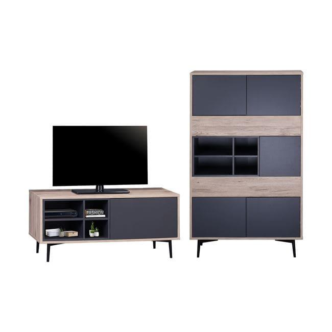 Σύνθεση Τηλεόρασης Margarit HM11249 Natural-Grey 175x39x130Υ εκ.