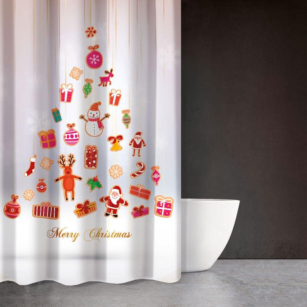 Κουρτίνα Μπάνιου Christmas 402 Saint Clair Φάρδος 180cm 180x200cm