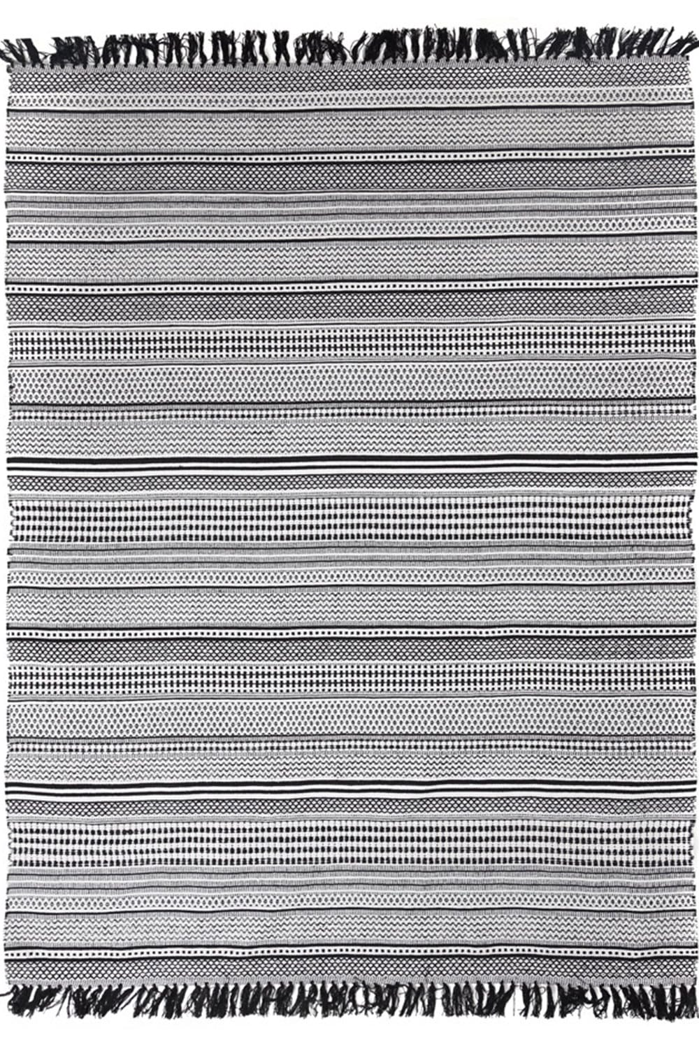 Χαλί Urban Cotton Kilim Samaira Black-White Royal carpet 140X200