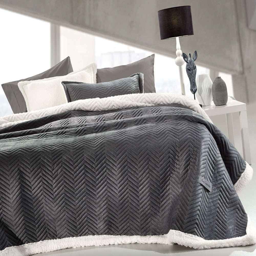 Κουβέρτα Velluto Anthracite Guy Laroche Μονό 160x220cm