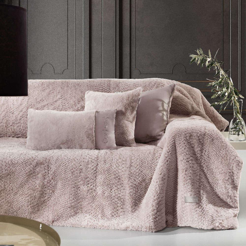 Κουβέρτα Καναπέ Σετ Με Διακοσμητική Μαξιλαροθήκη Crusty Old Pink Guy Laroche 150X180 130x170cm