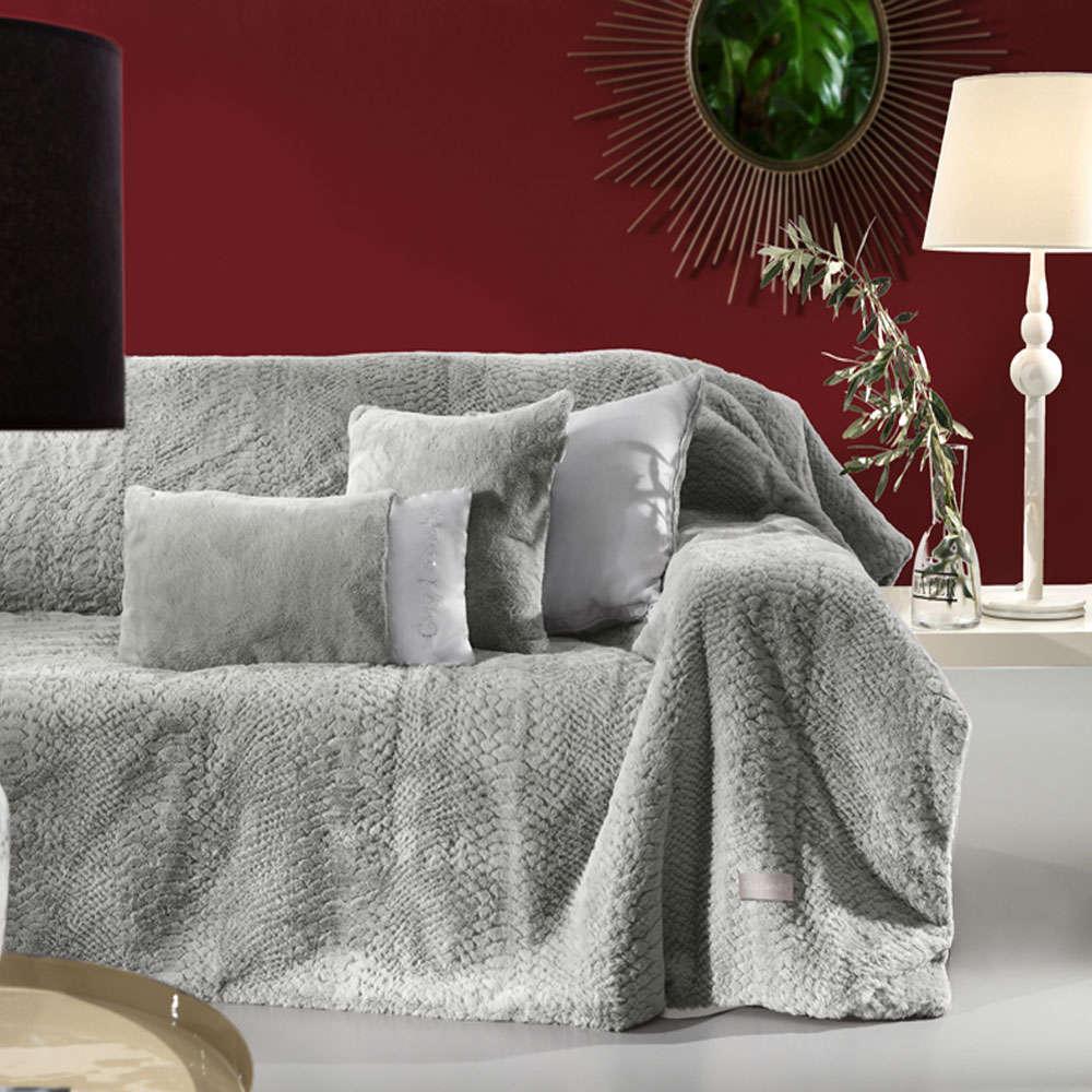 Κουβέρτα Καναπέ Σετ Με Διακοσμητική Μαξιλαροθήκη Crusty Silver Guy Laroche 150X180 130x170cm