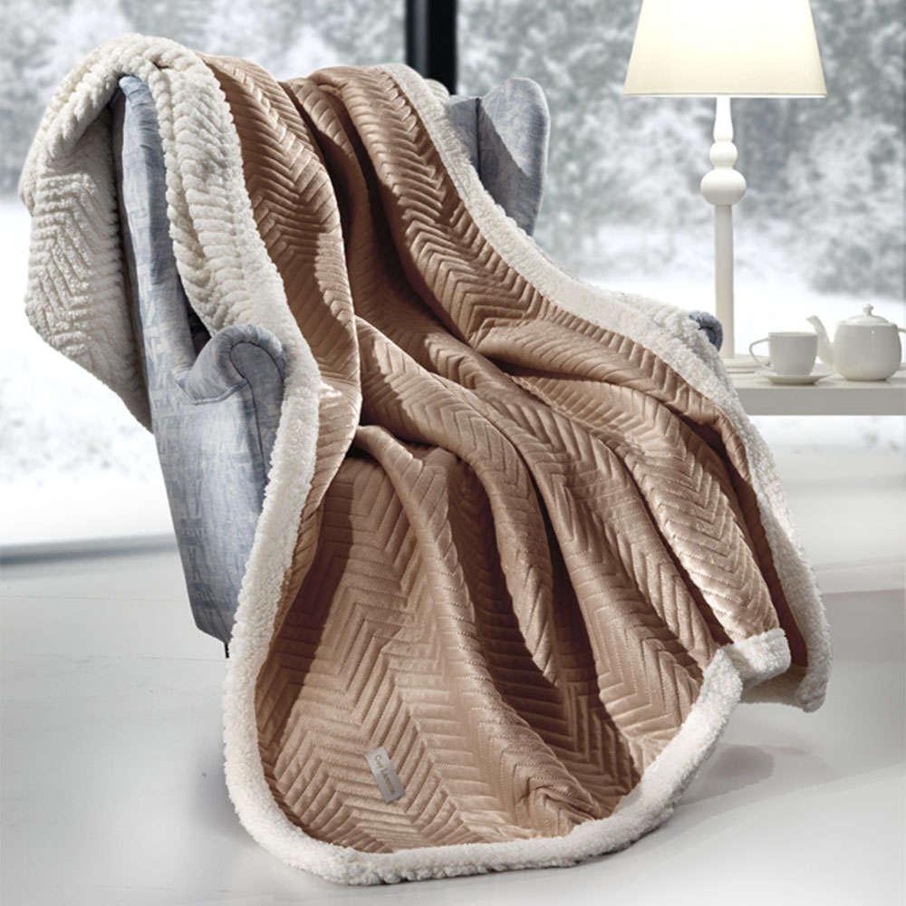 Κουβέρτα Καναπέ Σετ Με Διακοσμητική Μαξιλαροθήκη Velluto Camel Guy Laroche 150X180 130x170cm