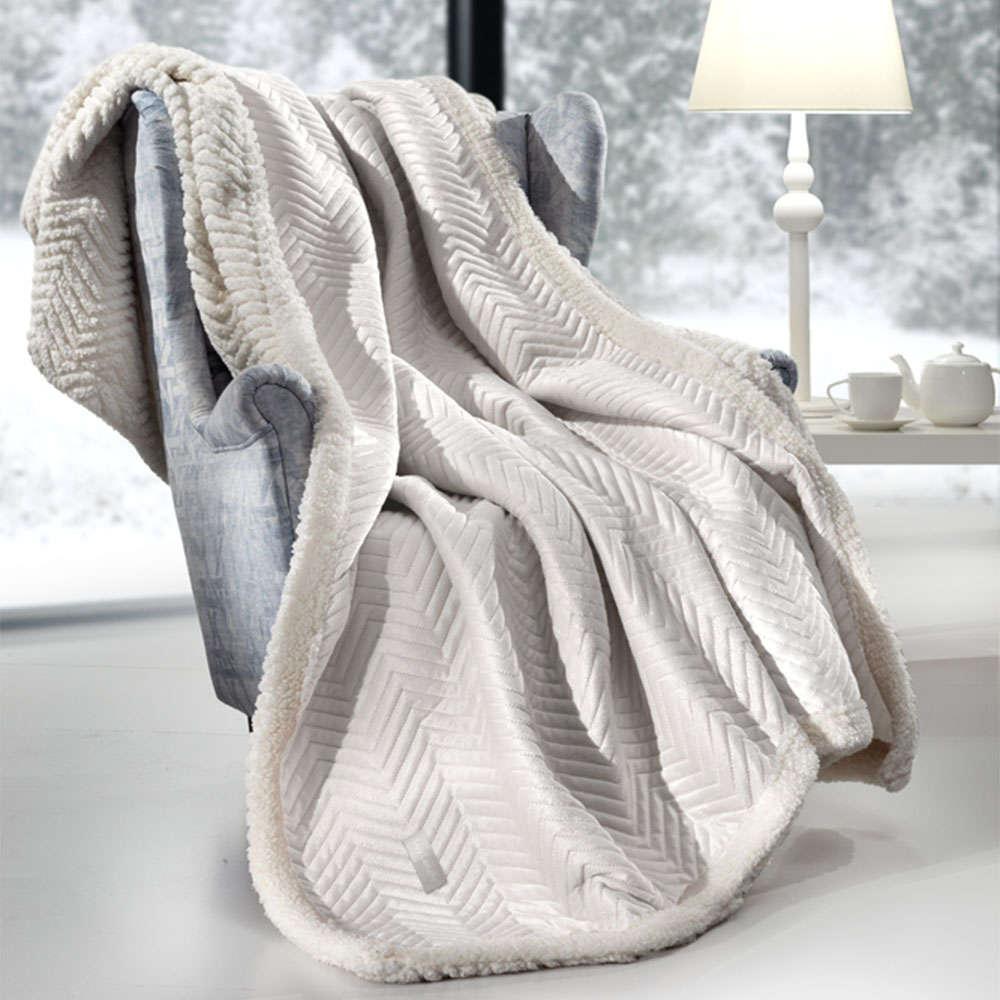 Κουβέρτα Καναπέ Σετ Με Διακοσμητική Μαξιλαροθήκη Velluto Ivory Guy Laroche 150X180 130x170cm