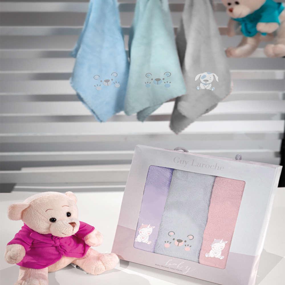 Πετσέτες Βρεφικές Σετ 3τμχ Baby Girl Multi Guy Laroche Σετ Πετσέτες 40x60cm