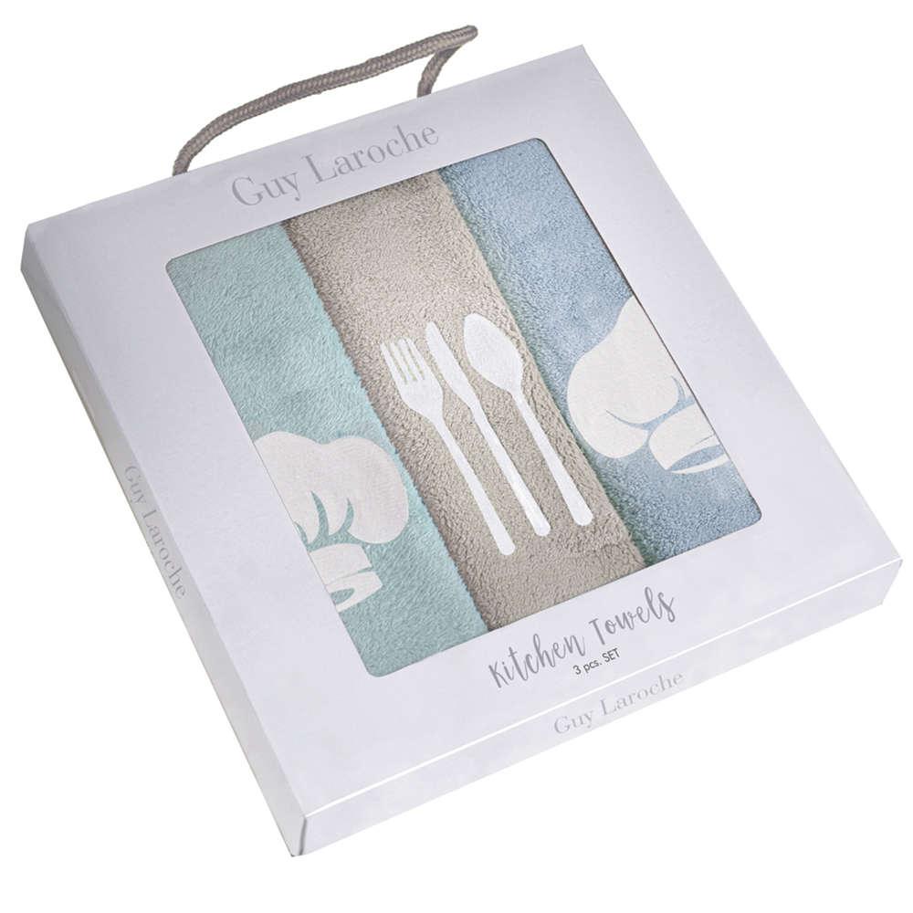 Πετσέτες Κουζίνας Σετ 3τμχ Gourmet Kitchen Set 2 Mint-Blue Guy Laroche 40x60cm